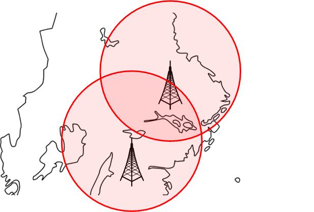 2 stycken FM sändare på samma frekvens överlappar och stör varandras signaler