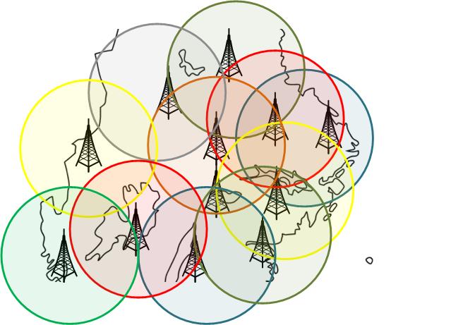 Många FM sändare på olika frekvenser som överlappar varandra utan att frekvenserna krockar